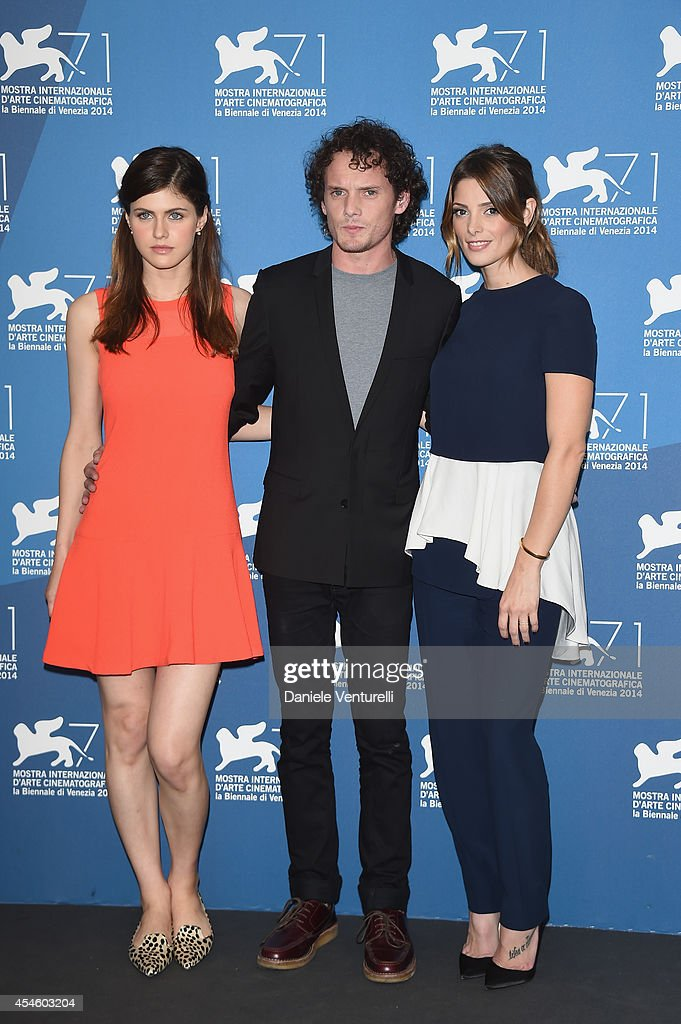 Actress Alexandra Daddario actor Anton Yelchin actress Ashley Greene attends 'Burying The Ex' Photocall during the 71st Venice Film Festival at...