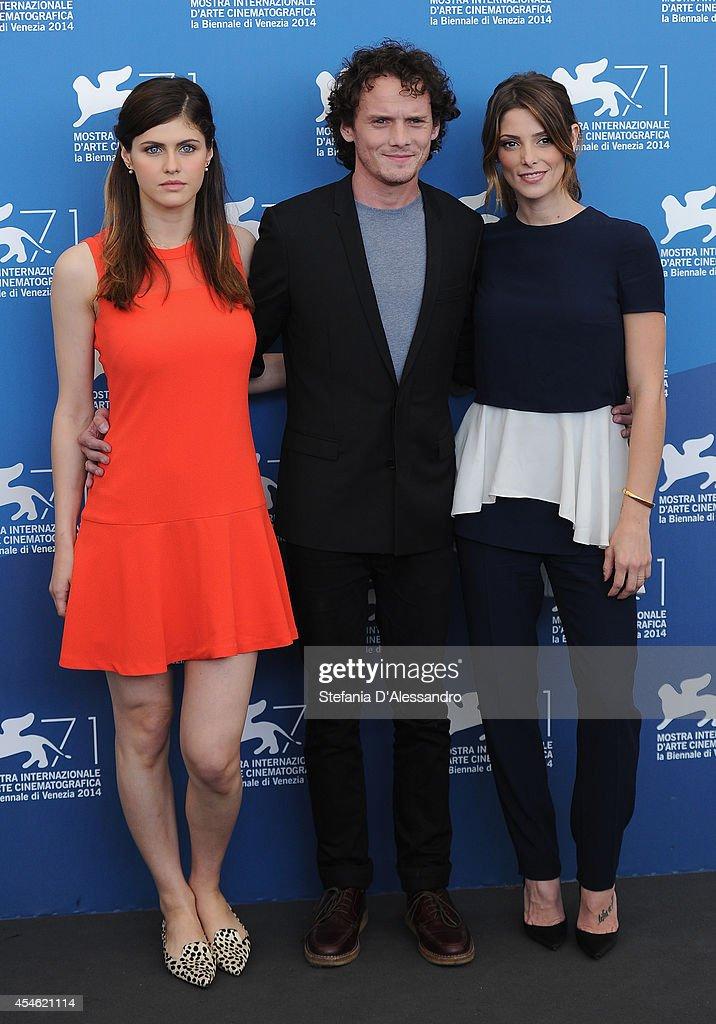 Actress Alexandra Daddario actor Anton Yelchin actress Ashley Greene attend 'Burying The Ex' Photocalll at Palazzo Del Cinema on September 4 2014 in...