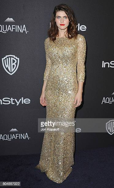 Actress Alexandra Daddario arrives at the 2016 InStyle And Warner Bros 73rd Annual Golden Globe Awards PostParty at The Beverly Hilton Hotel on...