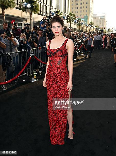 Actress Alexandra Daddario arrives at the premiere of Warner Bros Pictures' 'San Andreas' at TCL Chinese Theatre on May 26 2015 in Hollywood...