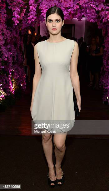 Actress Alexandra Daddario attends BVLGARI and Save The Children STOP THINK GIVE PreOscar Event at Spago on February 17 2015 in Beverly Hills...