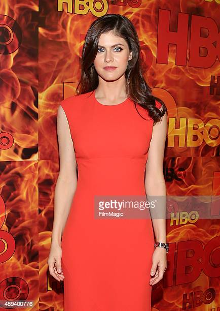 Actress Alexandra Daddario attends HBO's Official 2015 Emmy After Party at The Plaza at the Pacific Design Center on September 20 2015 in Los Angeles...
