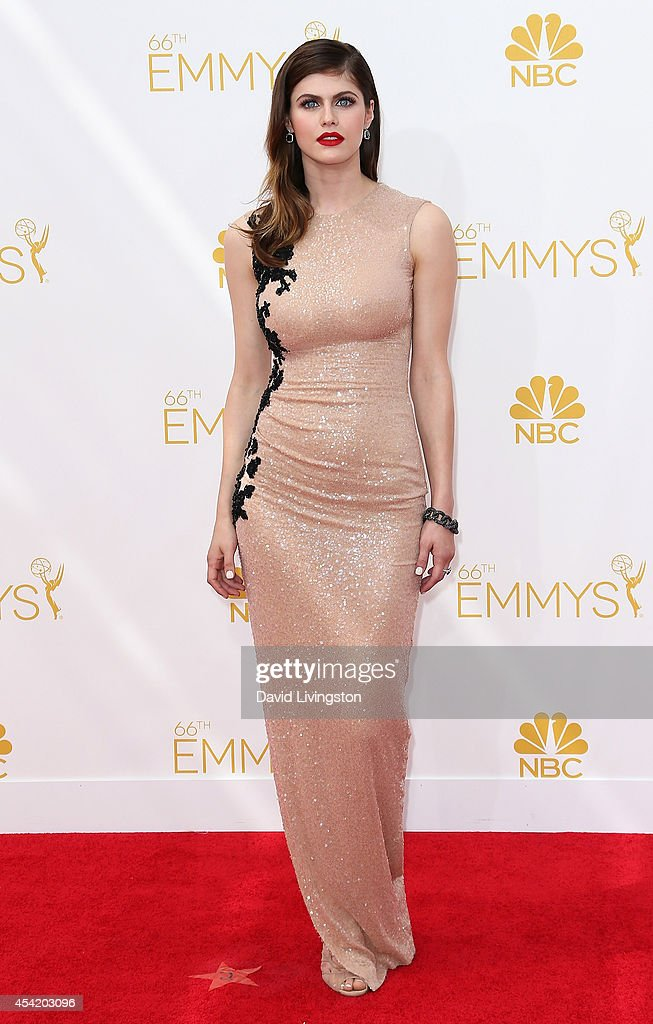 Actress <a gi-track='captionPersonalityLinkClicked' href=/galleries/search?phrase=Alexandra+Daddario&family=editorial&specificpeople=5679721 ng-click='$event.stopPropagation()'>Alexandra Daddario</a> attends the 66th Annual Primetime Emmy Awards at the Nokia Theatre L.A. Live on August 25, 2014 in Los Angeles, California.