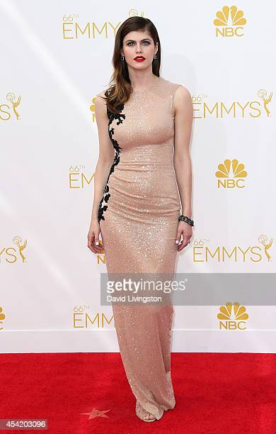 Actress Alexandra Daddario attends the 66th Annual Primetime Emmy Awards at the Nokia Theatre LA Live on August 25 2014 in Los Angeles California