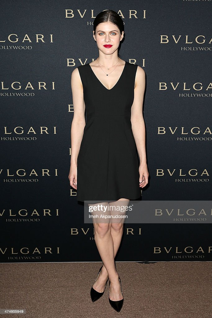 Actress <a gi-track='captionPersonalityLinkClicked' href=/galleries/search?phrase=Alexandra+Daddario&family=editorial&specificpeople=5679721 ng-click='$event.stopPropagation()'>Alexandra Daddario</a> attends the BVLGARI 'Decades of Glamour' Oscar Party at Soho House on February 25, 2014 in West Hollywood, California.
