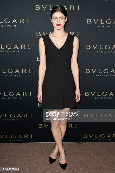 Actress Alexandra Daddario attends the BVLGARI 'Decades of Glamour' Oscar Party at Soho House on February 25 2014 in West Hollywood California