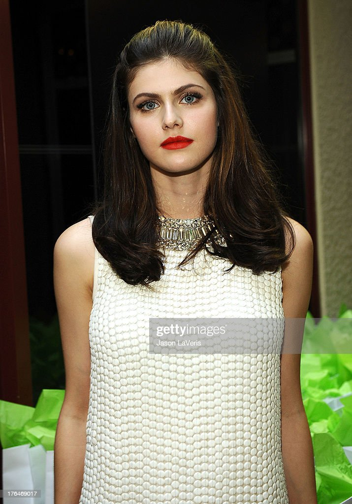 Actress Alexandra Daddario poses in the green room at the 2013 Teen Choice Awards at Gibson Amphitheatre on August 11, 2013 in Universal City, California.
