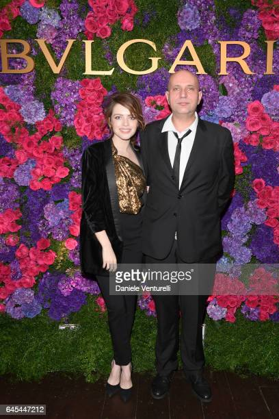 Actress Alexandra Dinu and director Francesco Cinquemani attend Bulgari's PreOscar Dinner at Chateau Marmont on February 25 2017 in Hollywood United...