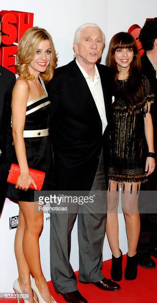 Actress Alexandra Jimenez actor Leslie Nielsen and actress Michelle Jenner attend the premiere of ''Spanish Movie'' at Kinepolis Cinema on December 3...