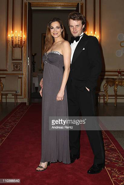 Actress Alexandra Kamp and partner Michael von Hassel attend the reception to the 150th anniversary of Italy unification at the Italian embassy to...