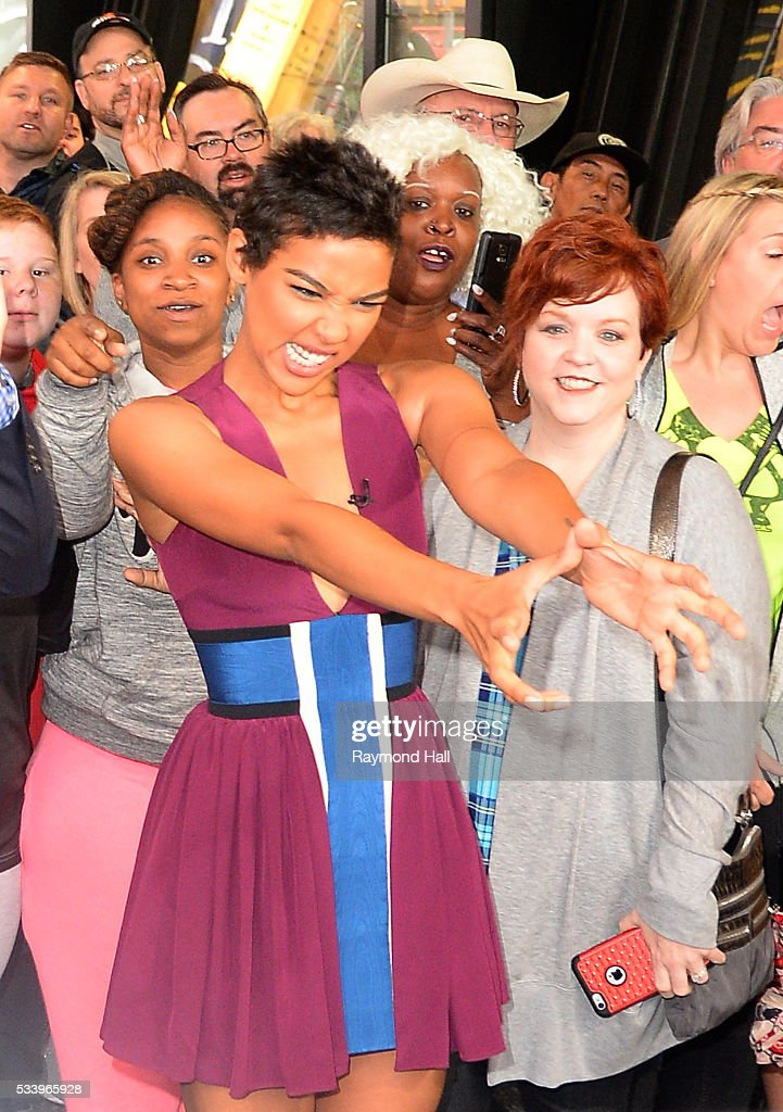 Actress <a gi-track='captionPersonalityLinkClicked' href=/galleries/search?phrase=Alexandra+Shipp&family=editorial&specificpeople=10012876 ng-click='$event.stopPropagation()'>Alexandra Shipp</a> is seen on the set of 'Good Morning America' on May 24, 2016 in New York City.