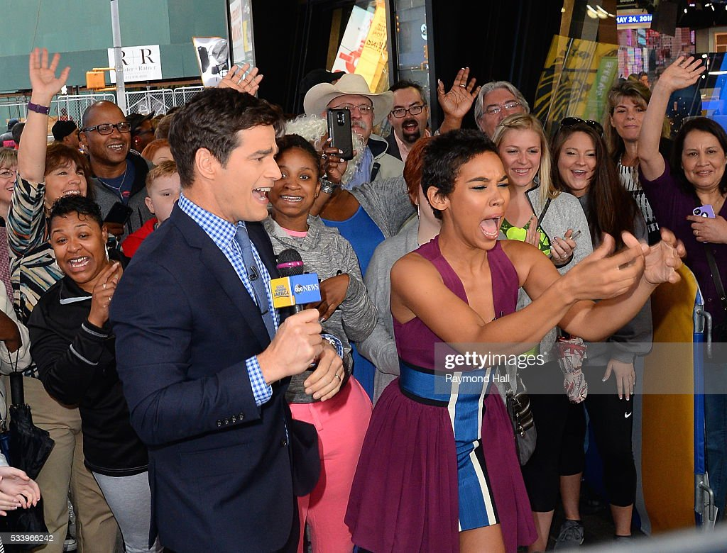 Actress Alexandra Shipp is seen on the set of 'Good Morning America' on May 24, 2016 in New York City.
