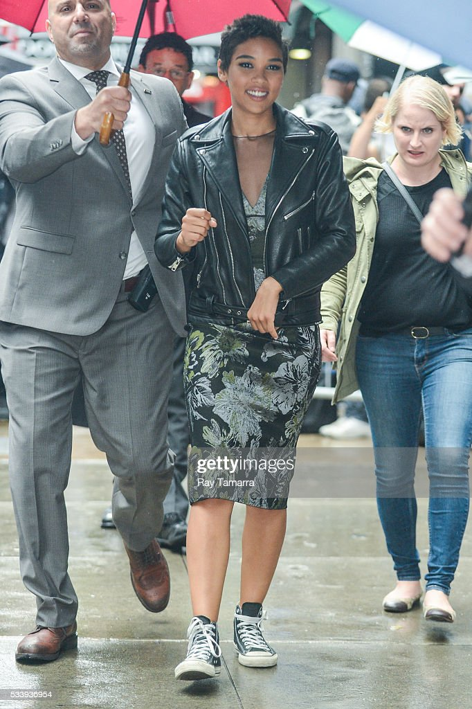 Actress Alexandra Shipp leaves the 'Good Morning America' taping at the ABC Times Square Studios on May 24, 2017 in New York City.