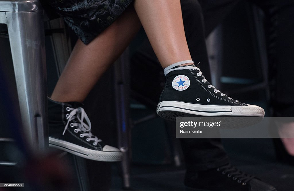 Actress <a gi-track='captionPersonalityLinkClicked' href=/galleries/search?phrase=Alexandra+Shipp&family=editorial&specificpeople=10012876 ng-click='$event.stopPropagation()'>Alexandra Shipp</a>, shoe detail, visits AOL Build to discuss 'X-Men: Apocalypse' at AOL Studios in New York on May 24, 2016 in New York City.