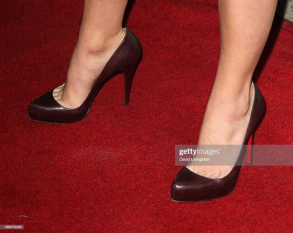 Actress Alexandre Kyle (shoe detail) attends the premiere of FX's 'Justified' Season 4 at the Paramount Theater on the Paramount Studios lot on January 5, 2013 in Hollywood, California.
