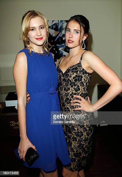 Actress Alexia Fast and model Margaret Qualley attend Hoorsenbuhs for Forevermark Collection cocktail party at Chateau Marmont on January 30 2013 in...