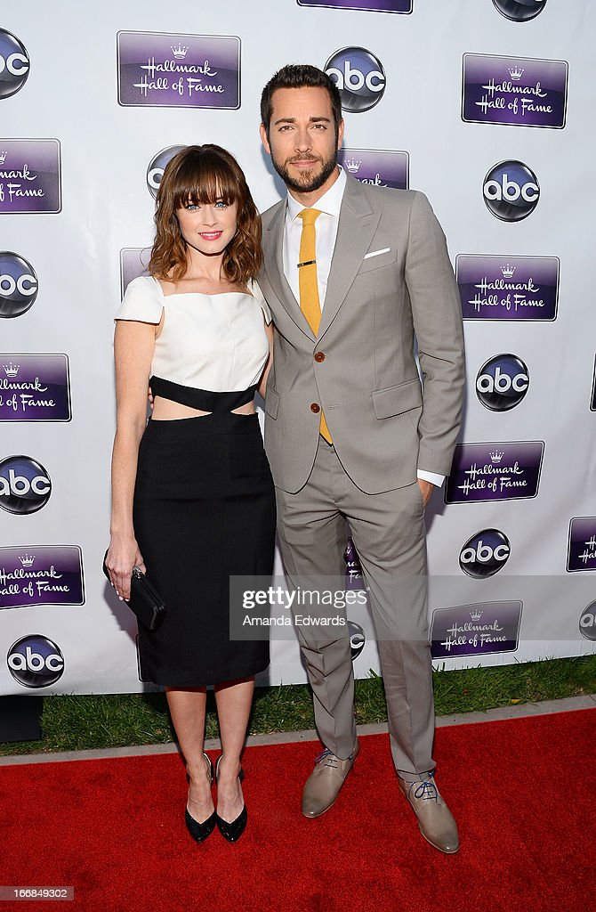 Actress Alexis Bledel (L) and actor Zachary Levi arrive at the Disney ABC Television and The Hallmark Hall of Fame's premiere of 'Remembering Sunday' at Fox Studio Lot on April 17, 2013 in Century City, California.