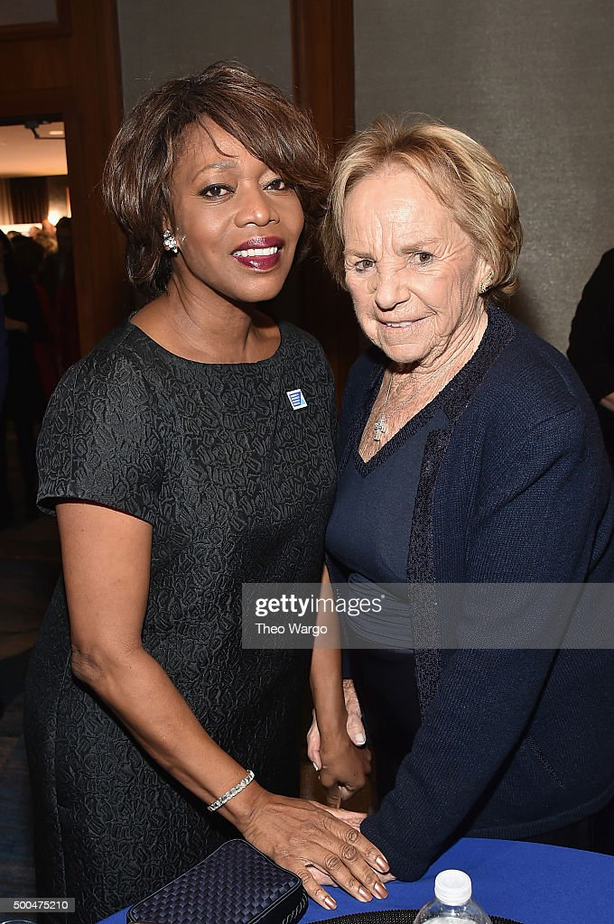 Actress Alfre Woodard (L) and Ethel Kennedy attend as Robert F. Kennedy Human Rights hosts The 2015 Ripple Of Hope Awards honoring Congressman John Lewis, Apple CEO Tim Cook, Evercore Co-founder Roger Altman, and UNESCO Ambassador Marianna Vardinoyannis at New York Hilton on December 8, 2015 in New York City.