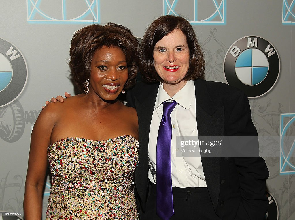 Actress Alfre Woodard and host Paula Poundstone backstage at The 17th Annual Art Directors Guild Awards, held at the Beverly Hilton Hotel on February 2, 2013 in Beverly Hills, California.