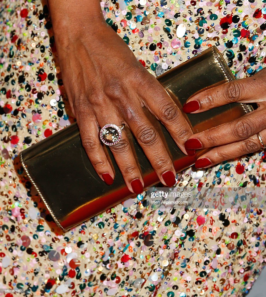Actress Alfre Woodard (ring and clutch detail) attends the 17th Annual Art Directors Guild Awards For Excellence In Production Design at The Beverly Hilton Hotel on February 2, 2013 in Beverly Hills, California.