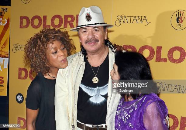 Actress Alfre Woodard Producer/musician Carlos Santana and labor leader/activist Dolores Huerta attend the 'Dolores' New York premiere at The...