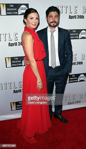 Actress Ali Landry and husband director Alejandro Monteverde attend the premiere of Open Road Films' 'Little Boy' at Regal Cinemas LA Live on April...