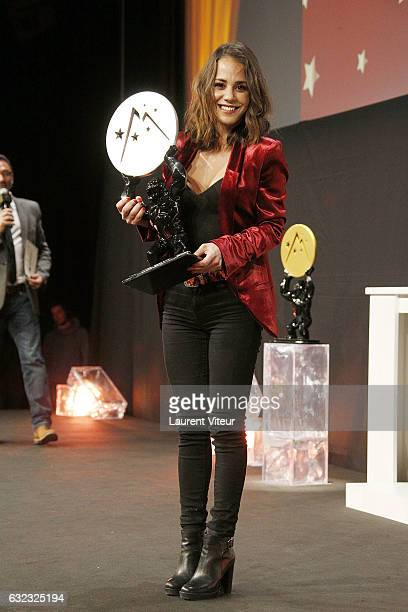 Actress Alice Belaidi win the Best Actress in Second Role during the 20th l'Alpe d'Huez International Comedy Film Festival on January 21 2017 in Alpe...
