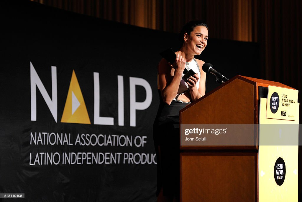Actress Alice Braga speaks onstage during the NALIP 2016 Latino Media Awards at Dolby Theatre on June 25, 2016 in Hollywood, California.