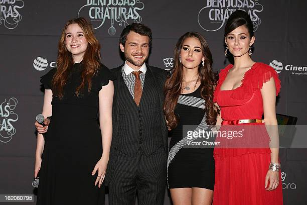 Actress Alice Englert actor Alden Ehrenreich actresses Danna Paola and Emmy Rossum attend the 'Beautiful Creatures' Mexico City premiere at Cinemex...
