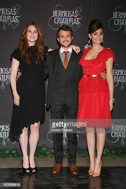 Actress Alice Englert actor Alden Ehrenreich and actress Emmy Rossum attend the 'Beautiful Creatures' Mexico City premiere at Cinemex Antara on...