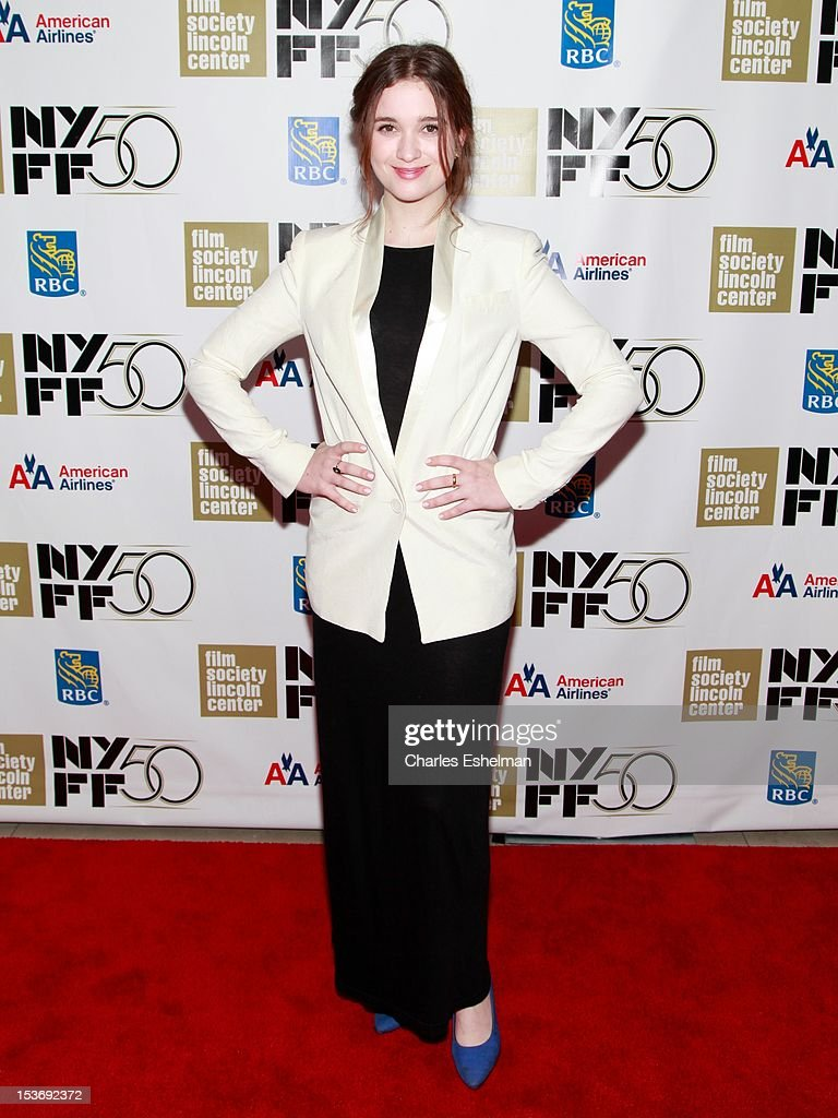 Actress Alice Englert attends the 'Ginger And Rosa' premiere during the 50th New York Film Festival at Alice Tully Hall at Lincoln Center on October 8, 2012 in New York City.