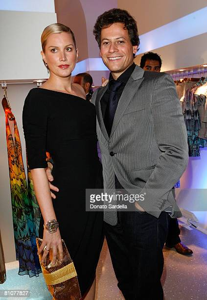 Actress Alice Evans and actor Ioan Gruffudd during the Alexander McQueen Store Opening at Alexander McQueen on May 13 2008 in Los Angeles California
