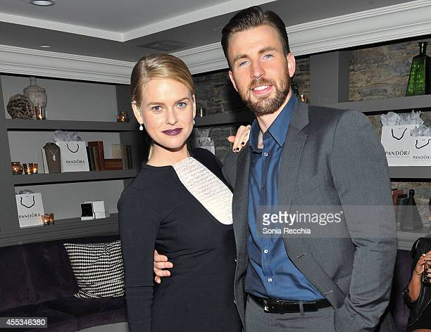Actress Alice Eve and Actor/Director/Producer Chris Evans attend the'Before We Go' cocktail reception with Chris Evans presented by PANDORA Jewelry...