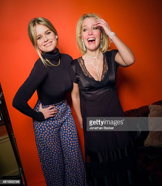 Actress Alice Eve and Gillian Anderson are photographed at the Charles Finch and Chanel's PreBAFTA on February 7 2015 in London England