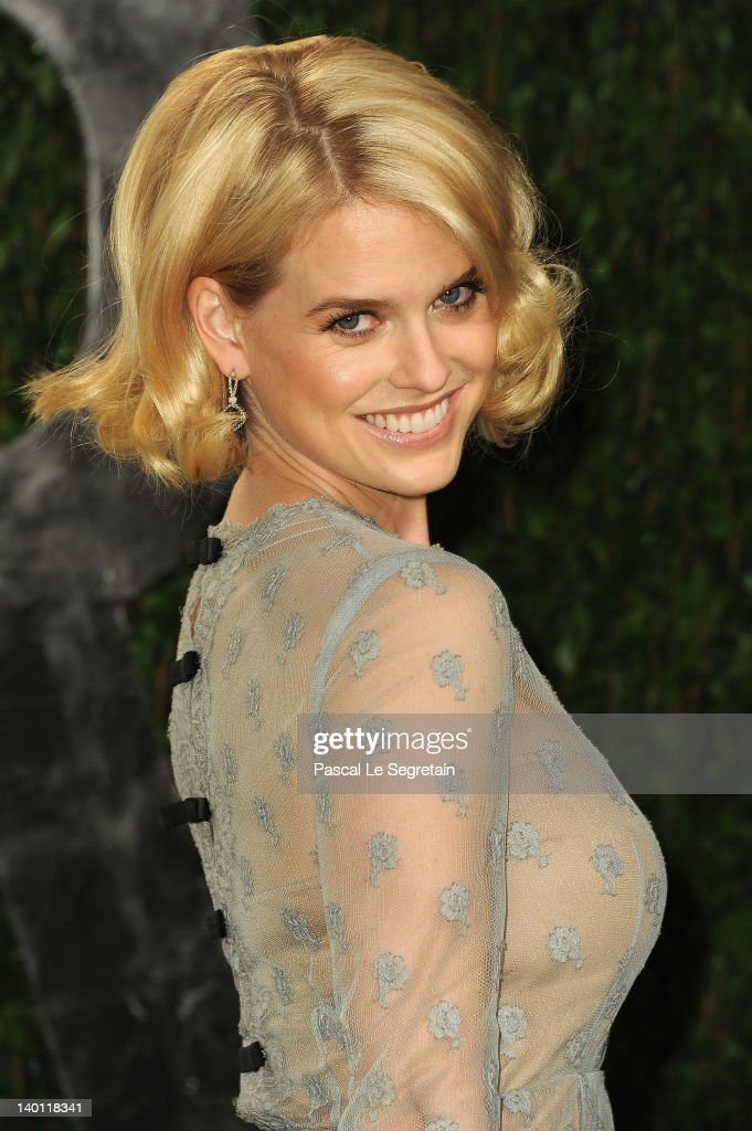 Actress Alice Eve arrives at the 2012 Vanity Fair Oscar Party hosted by Graydon Carter at Sunset Tower on February 26, 2012 in West Hollywood, California.