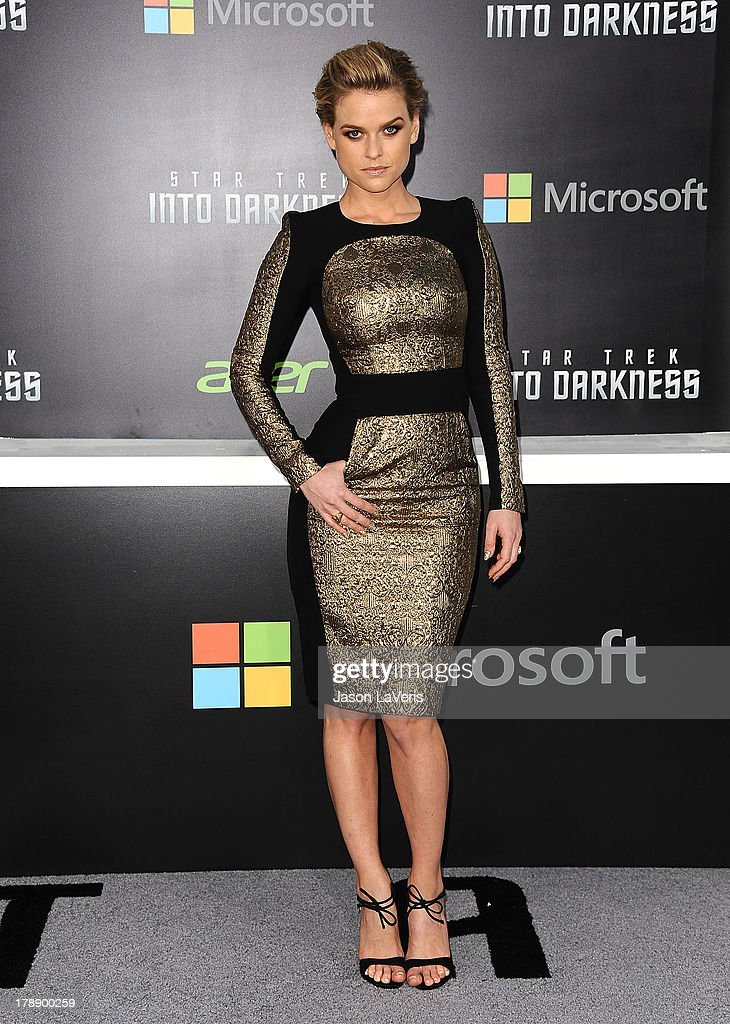 Actress <a gi-track='captionPersonalityLinkClicked' href=/galleries/search?phrase=Alice+Eve&family=editorial&specificpeople=570229 ng-click='$event.stopPropagation()'>Alice Eve</a> attends the premiere of 'Star Trek Into Darkness' at Dolby Theatre on May 14, 2013 in Hollywood, California.