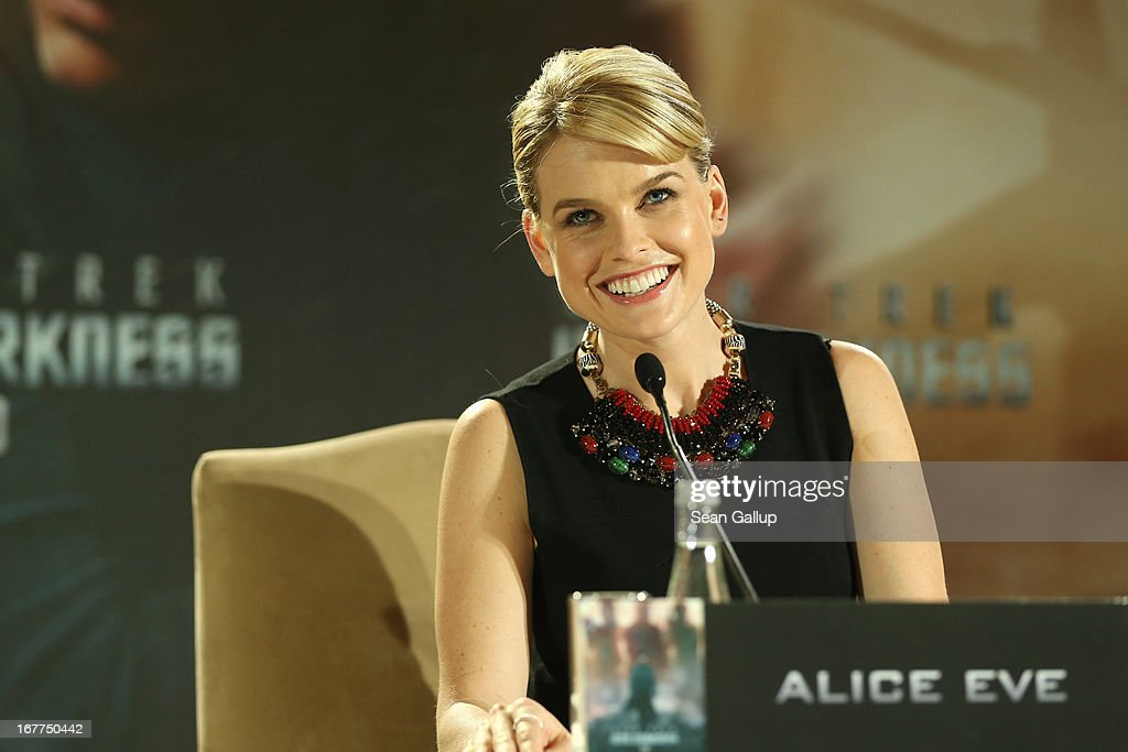 Actress <a gi-track='captionPersonalityLinkClicked' href=/galleries/search?phrase=Alice+Eve+-+Actress&family=editorial&specificpeople=570229 ng-click='$event.stopPropagation()'>Alice Eve</a> attends the 'Star Trek Into Darkness' Press Conference at Hotel Adlon on April 29, 2013 in Berlin, Germany.