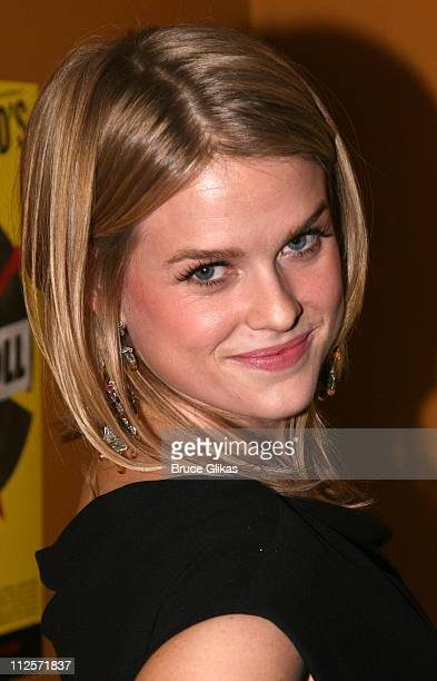 Actress Alice Eve poses at The Opening Night celebration for Tom Stoppards play 'Rock 'n' Roll' on Broadway at Angus McIndoe on November 4 2007 in...