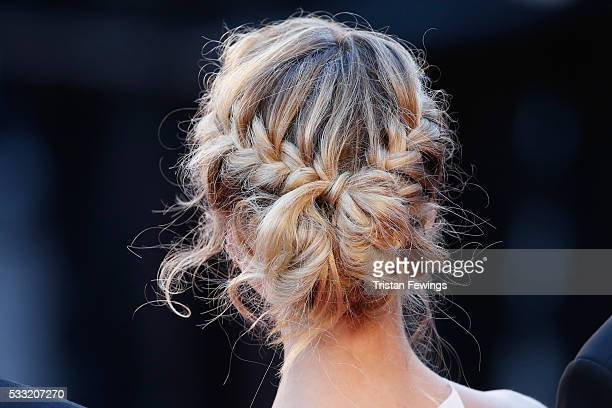 Actress Alice Jaaz hair detail attends the 'Elle' Premiere during the 69th annual Cannes Film Festival at the Palais des Festivals on May 21 2016 in...