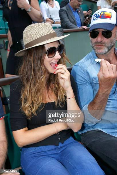 Actress Alice Pol eating sweets attends the 2017 French Tennis Open Day Thirteen at Roland Garros on June 9 2017 in Paris France