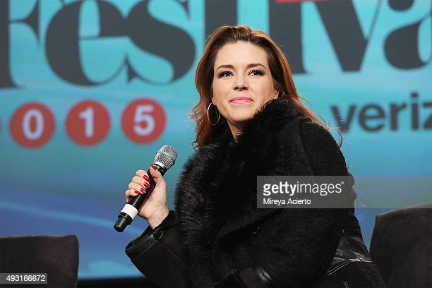 Actress Alicia Machado speaks during the 4th Annual People en Espanol Festival at Jacob Javitz Center on October 17 2015 in New York City