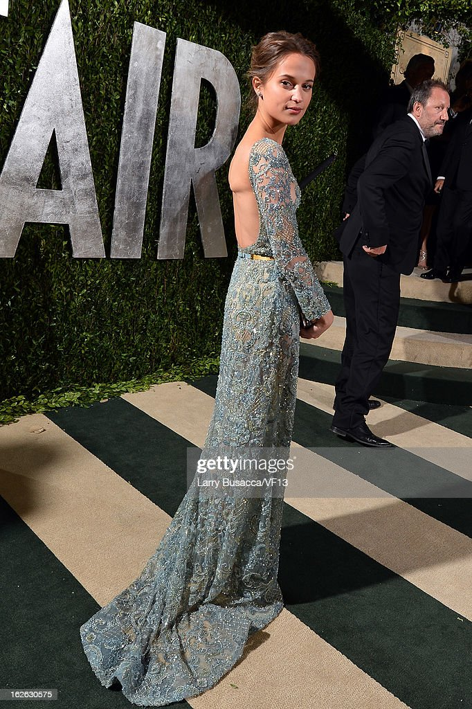 Actress Alicia Vikander arrives for the 2013 Vanity Fair Oscar Party hosted by Graydon Carter at Sunset Tower on February 24, 2013 in West Hollywood, California.