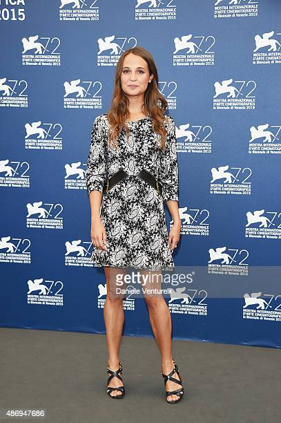 Actress Alicia Vikander attends a photocall for 'The Danish Girl' during the 72nd Venice Film Festival at Palazzo del Casino on September 5 2015 in...