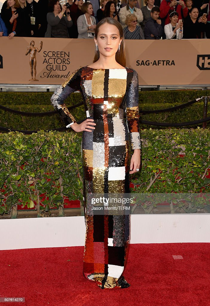 Actress Alicia Vikander attends The 22nd Annual Screen Actors Guild Awards at The Shrine Auditorium on January 30 2016 in Los Angeles California...