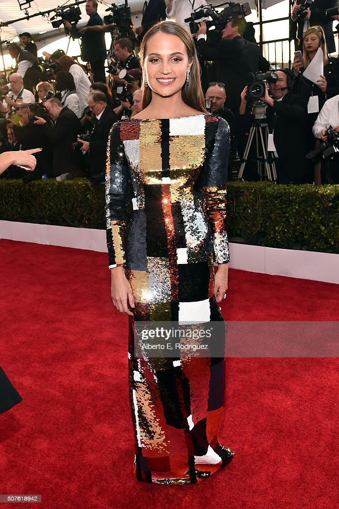 Actress <a gi-track='captionPersonalityLinkClicked' href=/galleries/search?phrase=Alicia+Vikander&family=editorial&specificpeople=7246025 ng-click='$event.stopPropagation()'>Alicia Vikander</a> attends the 22nd Annual Screen Actors Guild Awards at The Shrine Auditorium on January 30, 2016 in Los Angeles, California.