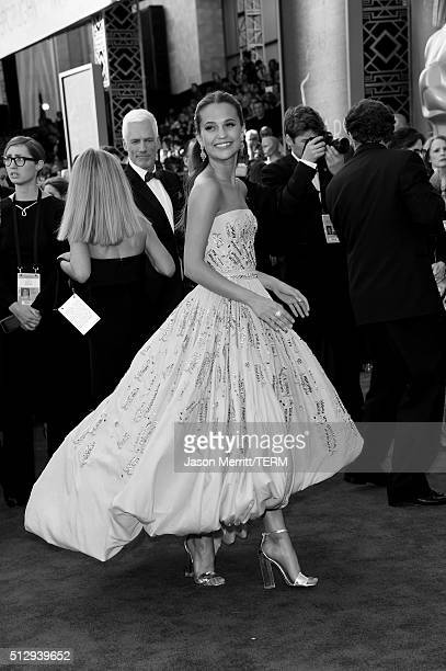 Actress Alicia Vikander attends the 88th Annual Academy Awards at Hollywood Highland Center on February 28 2016 in Hollywood California
