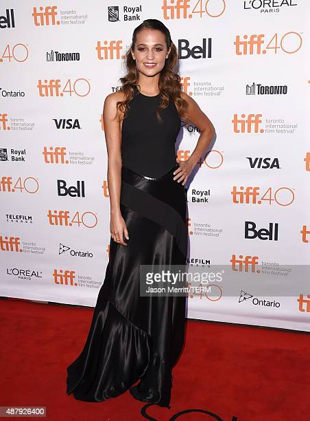 Actress Alicia Vikander attends 'The Danish Girl' premiere during the 2015 Toronto International Film Festival at the Princess of Wales Theatre on...