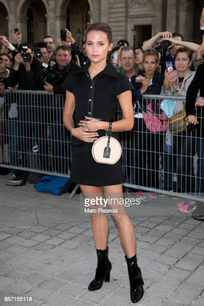 Actress Alicia Vikander attends the 'Louis Vuitton' fashion show at Louvre Pyramid on October 3 2017 in Paris France