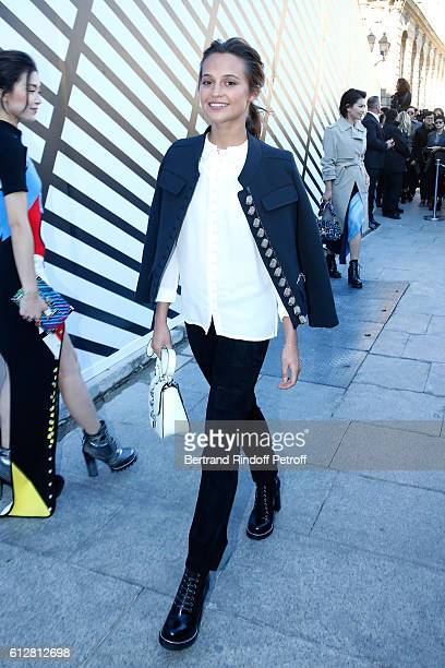 Actress Alicia Vikander attends the Louis Vuitton show as part of the Paris Fashion Week Womenswear Spring/Summer 2017 on October 5 2016 in Paris...