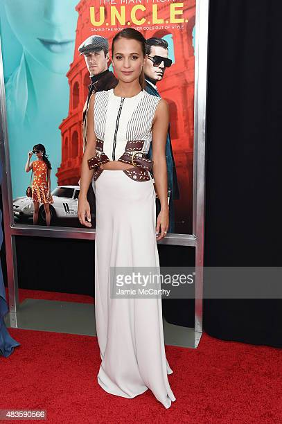 Actress Alicia Vikander attends the New York premiere of 'The Man From UNCLE' at Ziegfeld Theater on August 10 2015 in New York City